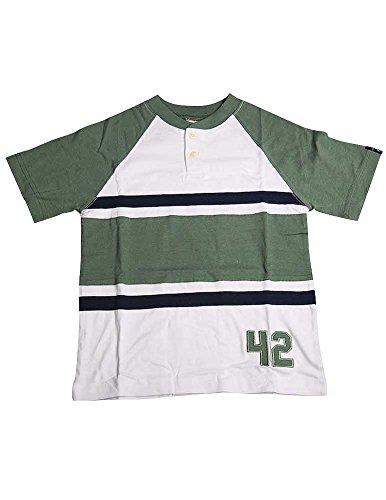 Dogwood Clothing - Little Boys Short Sleeve Henley Striped Tee Shirt, White, Sage, Navy 11643-6