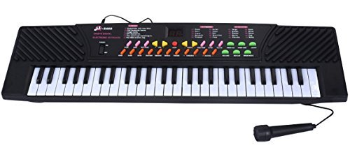 Electric Piano Keyboard For Kids - Kid Beginner Piano - Mini Music Organ Toy - With Microphone And Adapter - 54 Keys - Black - By Kids Toys by Kids Toys Deals