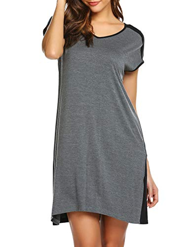 Ekouaer Stretchy Loose Lounger Women's Nightgown Cotton Shirts Contrast Color Cap Sleeve Sleep Tee Nightshirt (M.Grey Textile, Small)