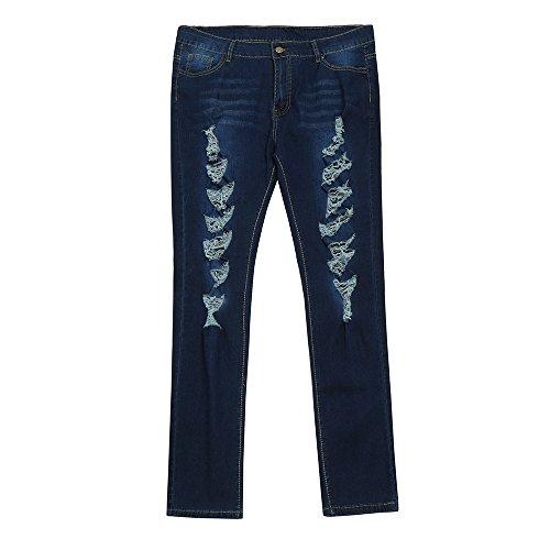 Jeans Femme Dchir Taille Haute, Sunenjoy Pantalon Grande Taille Jeans Skinny Mode Pantalon Crayon Slim 42 44 46 48 50 52 Bleu fonc