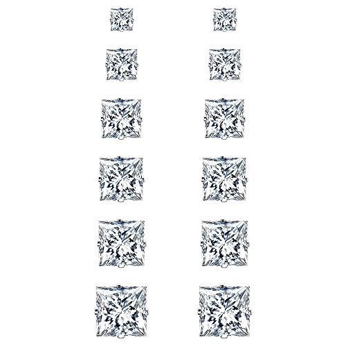 UHIBROS Stud Earrings Set Hypoallergenic Stainless Steel Earrings Cubic Zircon Square Earrings For Mens Womens 3-8mm