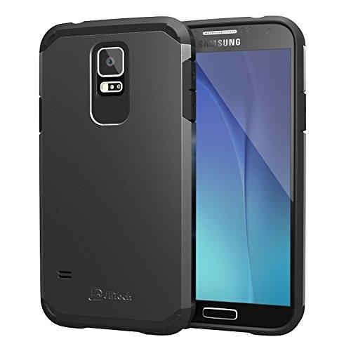 JETech Super Schutz Samsung Galaxy S5 Schutzhülle Hülle Case Schlank Tasche für Galaxy SV Galaxy S V (Schwarz) - 3010