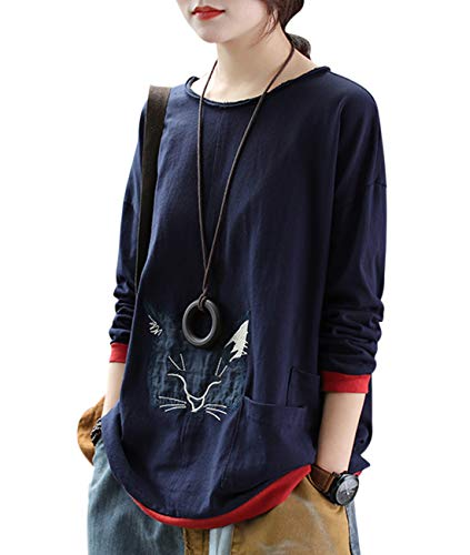 - YENO Women Casual Funny Cute Tee T-Shirts Pullover Tops Fox Patched Color Block Cuff&Hem/Pockets EGA