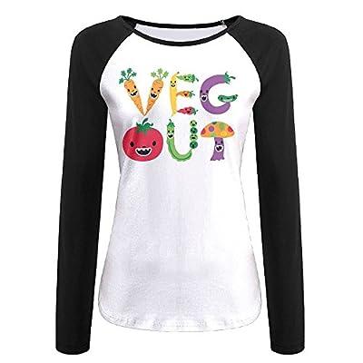 MOMAMU Veg Out Women's Long Sleeve Jersey Shirt Baseball Tee Raglan T-Shirts Black