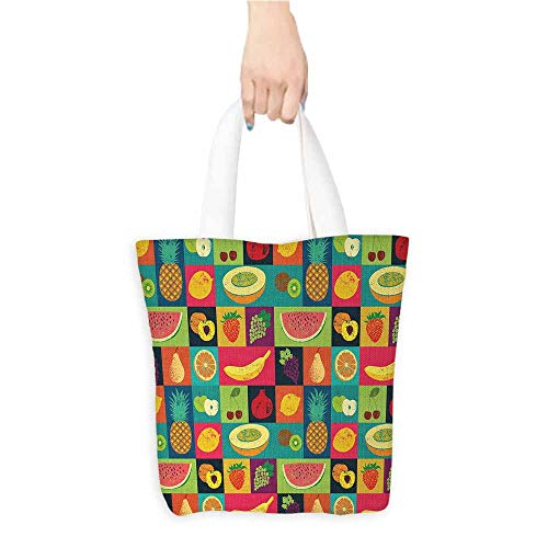 - Eco-Friendly Purse Bag,Retro,Pop Art Grunge Style Fruits Collection Colorful Vintage Set Organic Food Pattern,Canvas Grocery Shopping Bags with Handles,Multicolor