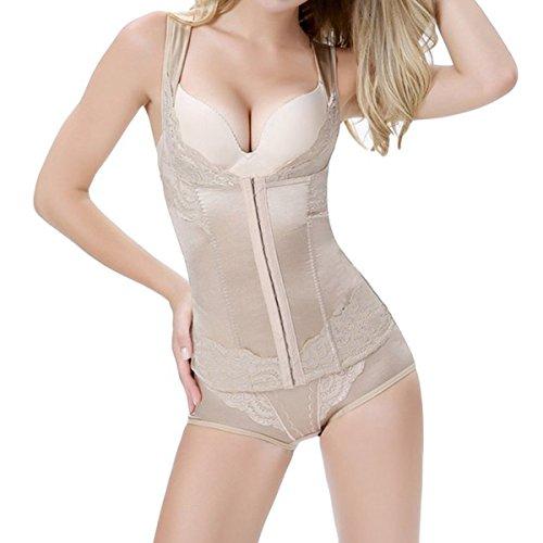 Shymay Women's Underbust Waist Cincher Body Girdle Wear Your Own Bra Torsette, Apricot, Large