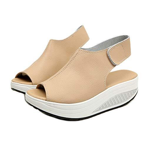 (LingGT Rocker Sole Sandals Women Hook Loop Strap Platform Peep Toe Summer Shoes (Color : Beige, Size : US 8))
