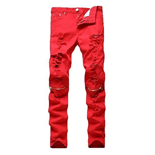 Leward Men's Ripped Skinny Distressed Destroyed Straight Fit Zipper Jeans with Holes No Belt (Red, 30)