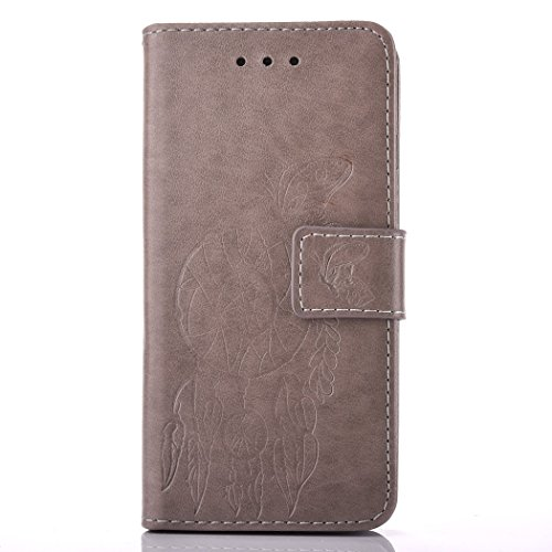 Lenovo A1000 Case, Lenovo A1000 Leather Case, Lenovo A1000 Wallet Case,Cozy Hut Retro Vintage Embossed Plum Blossoms Pattern Pu Bookstyle Strap Leather Wallet Flip Protective Case Cover with Stand and Gray wind chimes
