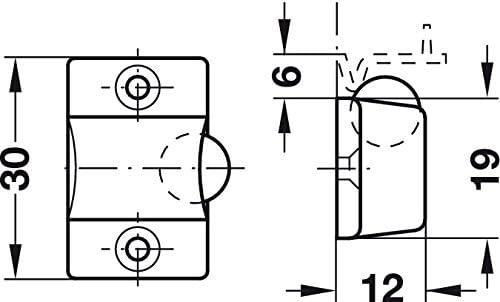 Loqueteau Rond /à Visser 5 Pi/èces M/öbel-t/ürschnapper avec Gedotec Captures de Rouleau Loqueteau /à Bille T/ür-verschluss pour Bois M/öbelt/üren /& Schrank-T/üren Acier Nickel/é
