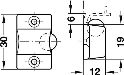 Cierre de bola de 19 mm de n/íquel para puerta//armario