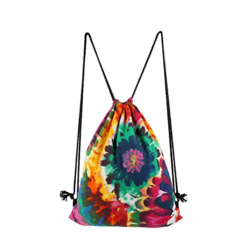 Drawstring Backpack, Drawstring Gym Backpack For Girl, Lightweight Cotton Flower Training Gymsack, Travel Daypack, Sports Bags, Foral-Red