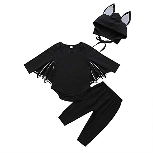Childrens Halloween Outfits (CARETOO Baby Boys Halloween Outfits 3Pcs Long Sleeve Costume Bat Romper Pants Hat Cotton Clothing Set)