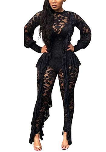 Women's Sexy Lace See Through Mesh Long Pants Bodycon One Piece Jumpsuit Rompers Clubwear Black