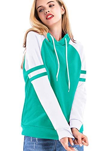 Yidarton Women's Color Block Long Sleeve T Shirt Casual Round Neck Tunic Tops Hoodies(Green,M) by Yidarton (Image #7)
