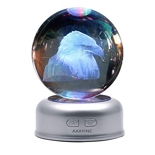 (AXAYINC 3D Crystal Ball Night Light with Stand 7 Colors Change for Kids Baby Bedroom Decor Birthday Gift(Eagle) )