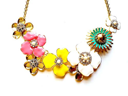 Flower Costume Jewelry - Toto Beau Floral Statement Necklace Chunky Bold Flower Colorful Fashion Costume Jewelry