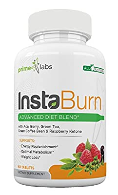 InstaBurn Fat Burner for Women and Men to Lose Weight Fast with with Acai Berry, Green Tea Extract, Raspberry Ketone, Green Coffee Extract, Mango Extract- 60 Caplets