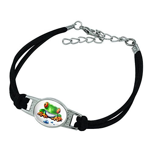 Graphics and More Rainforest Red Eyed Tree Frog and Ant Novelty Suede Leather Metal Bracelet - Black