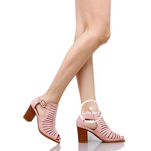 Perforated Comfortable Out Shoe Mid Chunky Strappy Block Walking Blush Sandals Womens Cut Heel Open Pu Toe Guilty Heart OnUqX8I1w