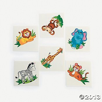 Fun Express 72 Adorable Zoo Animal Tattoos/Zebra/Lion/Elephant/Monkey/Tiger/Giraffe/Safari/Jungle/Birthday Party Favors/6 Dozen ()