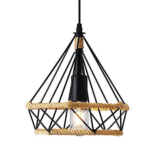 Lámpara Colgante Vintage,cuerda de cáñamo Retro Lámpara de Techo Colgante industrial,Lámpara de suspensión de jaula de hierro en forma de diamante Luces de techo,25 cm a buen precio