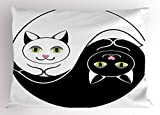 Lunarable Ying Yang Pillow Sham, Black and White Cuddling Cats in Asian Yin Yang Form Harmony and Balance Kitten, Decorative Standard Size Printed Pillowcase, 26 X 20 Inches, Black White