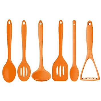 New Kitchencraft Orange 6pc Silicone Cooking Utensils Ladle Masher Turner  Spoons
