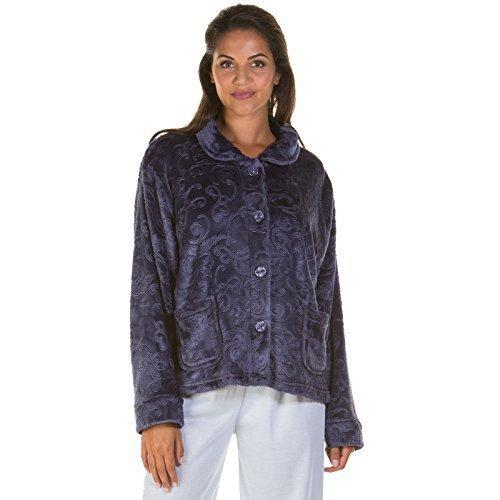 Mujer Bata mujer chaqueta Mañanita Polar Estampado Cremallera Botón Bata Talla Grande Nueva: Amazon.es: Ropa y accesorios