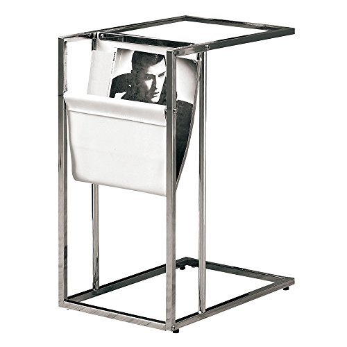 Monarch Metal Accent Table with a Magazine Holder, White/Chrome