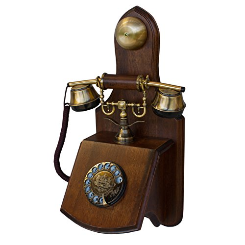 OPIS 1921 Cable - Model D - Wall-Mounted Vintage Phone/Retro Telephone with Wood and Metal Body, Functional Rotary dial and Classic Metal Bell (Wall Mount Rotary Phone)