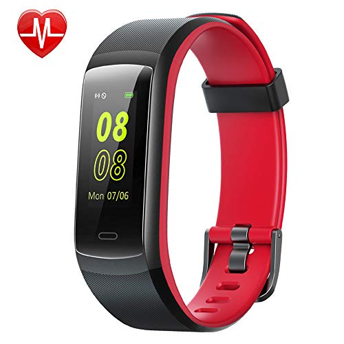 Willful Fitness Tracker, Heart Rate Monitor Activity Tracker Pedometer with Step Counter Sleep Monitor 14 Sports Tracking,Color Screen IP68 Waterproof,Fitness Watch for Men Women Kids (Black/Red)