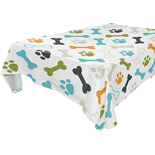 WOZO Rectangular Colorful Puppy Dog Paw Print Footprint Tablecloth Table Cloth Cover for Home Decor Dinner Kitchen Party Picnic Wedding Halloween Christmas 60x60 inch