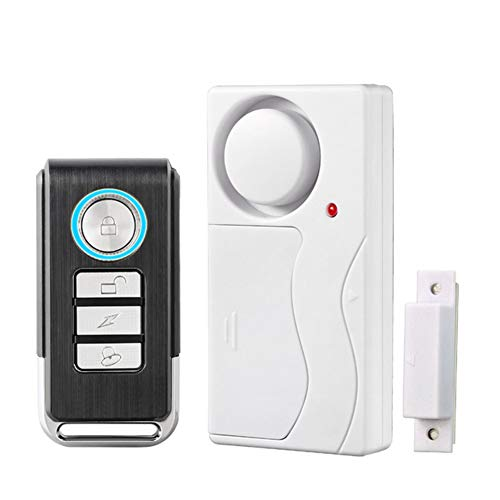 Wireless Door Alarm with Remote, Anti-Theft Window Alarms, Contact Sensor Alarm, Pool Door Alarm, Entry Chime,Apartment Alarm,Fridge Door Open Alarm for Kid Safety(Pack of 1)