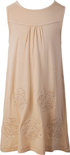 Ipuang Big Girls' Flower Dress Casual Embroidered Ivory (Ivory Flower Shirt)