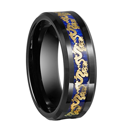 Queenwish 8mm Black Tungsten Carbide Ring Gold Dragon Blue Carbon Fibre Inlay Mens Wedding Bands Jewelry Size 9