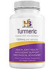 Turmeric with Black Pepper, Natural Nutritional Supplement, 1500 mg Curcumin Bioperine, Antioxidant, Anti-Inflammatory, Vegan, Non GMO, Gluten Free. Joint Pain Relief. 120 caps