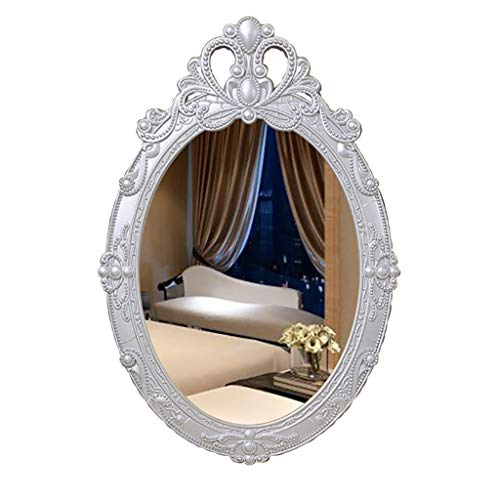(Vintage Carving Ellipse Wall-Mounted Bathroom Mirror Pine Wooden Large Frame Vanity Mirror with Wall Hanging Fixing Hardware Silver 38CMx57CM)