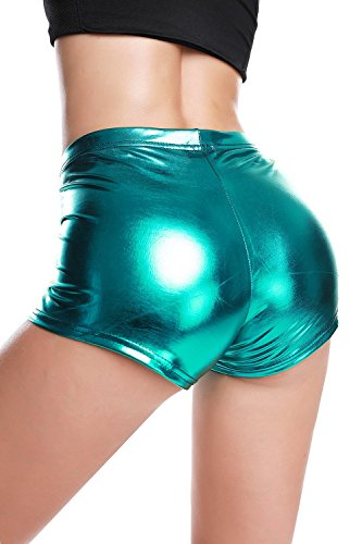 BLACK JACKY Metallic Rave Booty Dance Shorts (X-Large, Blue)