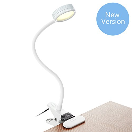 Clip on Light, Bestaid Clip On Book Light for Reading in Bed, 3 Color Modes, 2 Brightness Modes, Clamp Light for Bed Headboard and Desk (White)