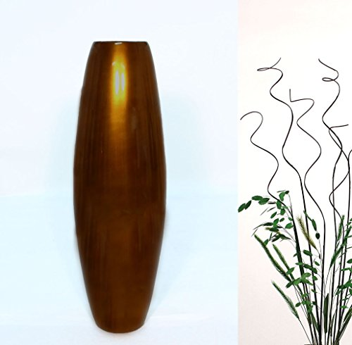 """GreenFloralCrafts 27"""" Bamboo Cylinder Floor Vase with Branches & botanicals Kit - Lacquer BRONZE"""