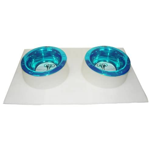 Platinum Pets 4 Cup Clear Silicone Bowl Mold Mat with Two Rimmed Bowls, Teal