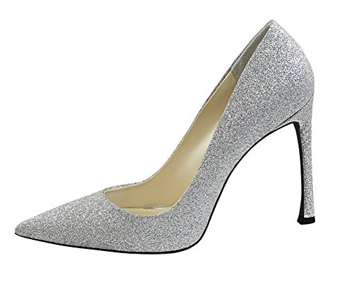 On Silver Closed Shoes Toe Pumps PU Women's WeenFashion 37 Pointed Heels High Pull Solid x74wHFznEH