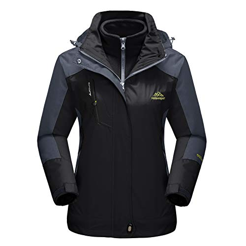 MAGCOMSEN Womens Outdoor Jacket Softshell Tactical Jacket Rain Coats Snowboard Skiing Jacket with Hood Black