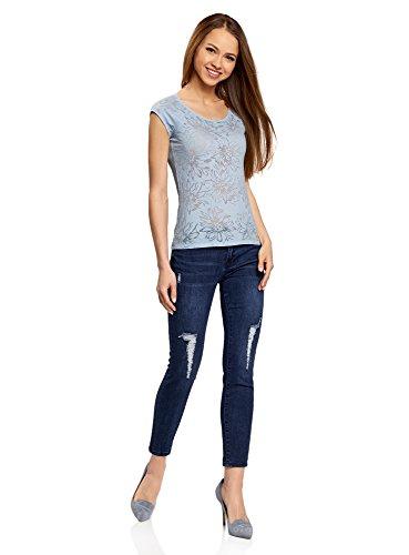 oodji Collection Mujer Camiseta de Tejido Texturizado con Mangas Raglán Azul (7000F)