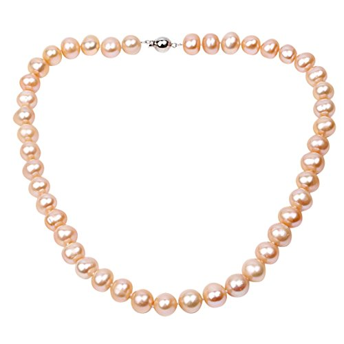 10-11mm Pink Potato-shaped Cultured Freshwater Pearl Necklace (Necklace Pearl Real Bracelet Pink)