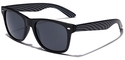 Carbon Fiber Style Retro Fashion Sunglasses Matte Black - Carbon Fiber
