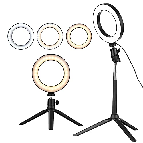 Zebur Big 6 Inch Mini LED Ring Light Photography Lamp Dimmable 3 Lighting Modes USB Powered with Telescopic Stand Mini Desktop Tripod Ball Head for Selfie Photography