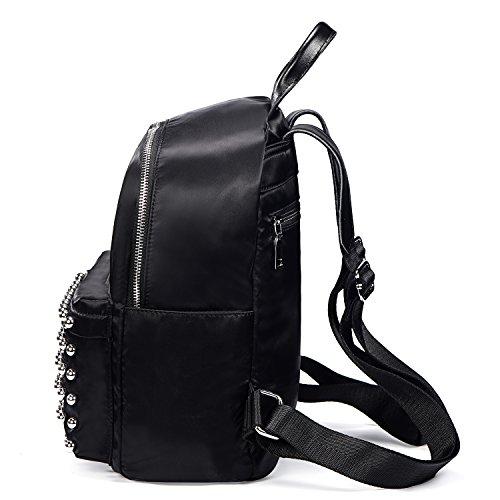 DonDon mujeres mochila de piel PU con remaches picadura negro Remaches bola - Nailon