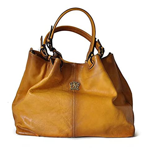 Pratesi Italian Aged Leather Bucket Hobo Handbag Shoulder Bag (mustard tan) - Italian Mustard